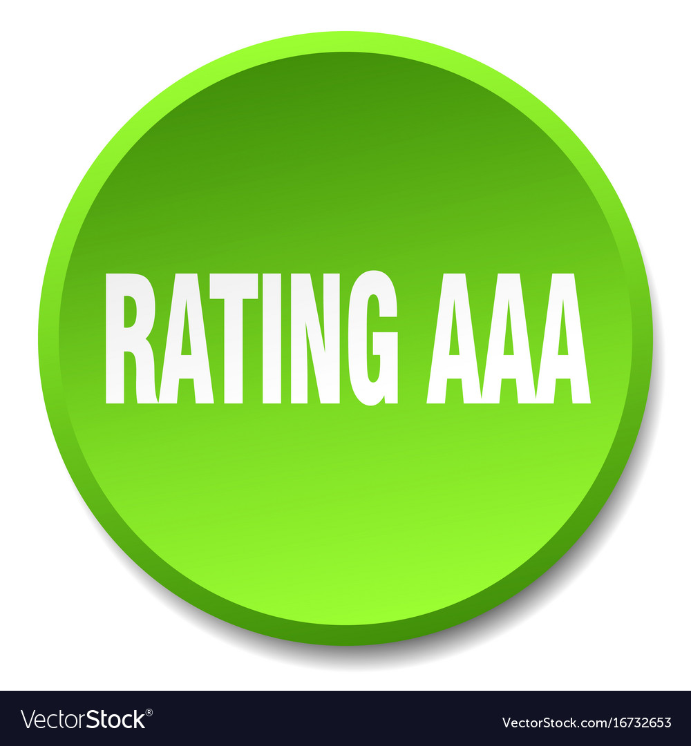 Rating aaa green round flat isolated push button vector image