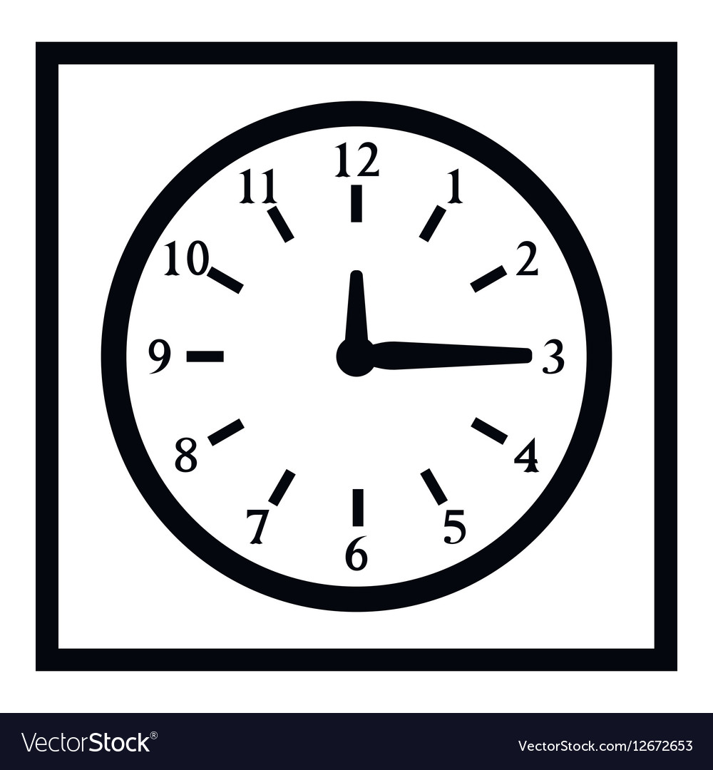 Square wall clock icon simple style vector image