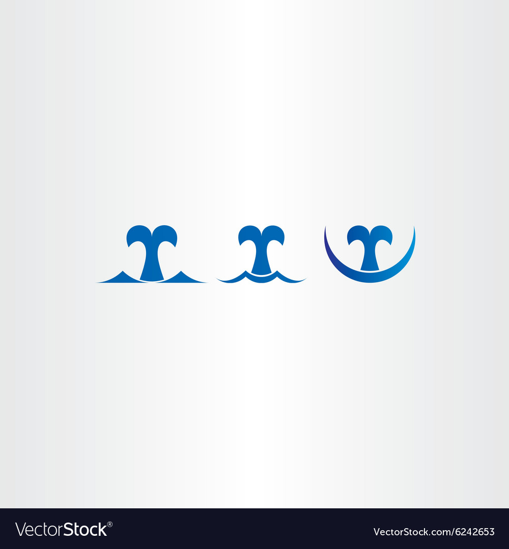 Whale blue icons set tail symbol vector image