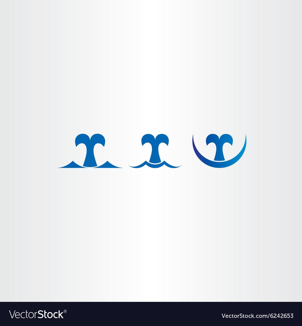 Whale blue icons set tail symbol