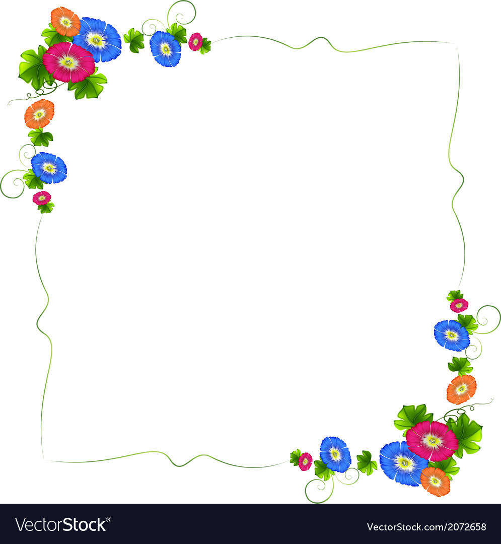 A border design with fresh colorful flowers