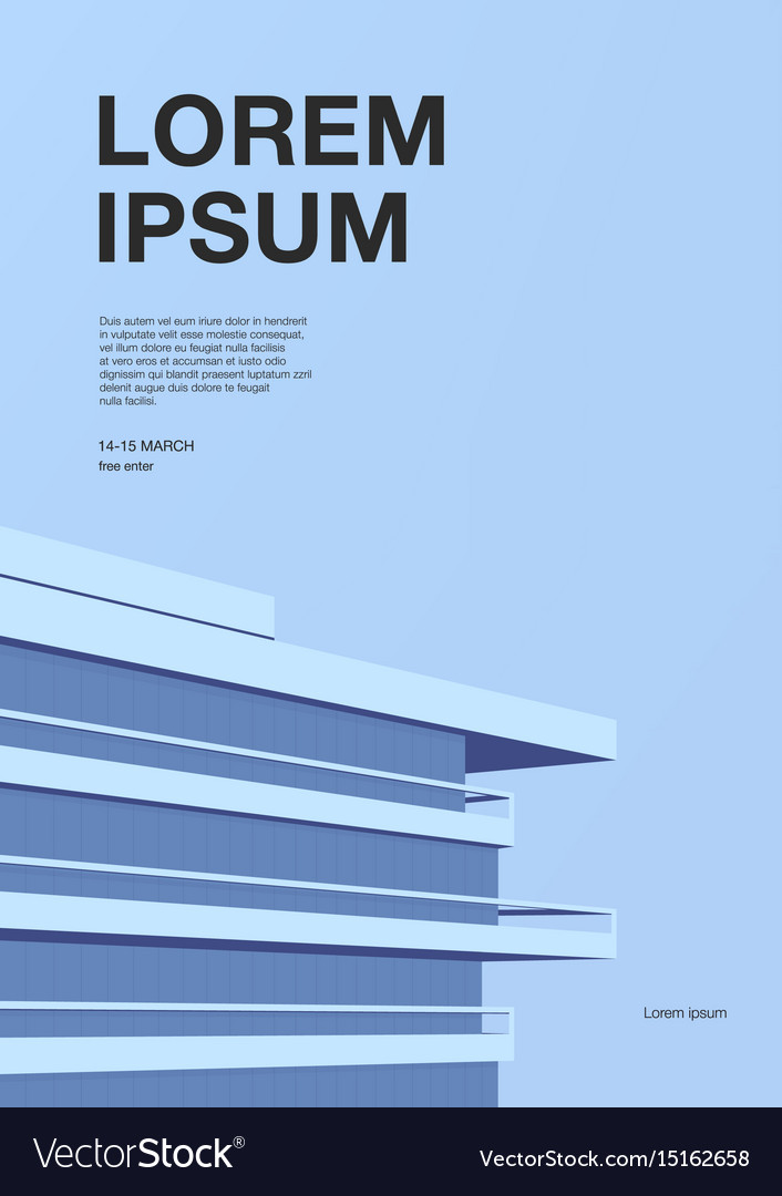 Advertising poster with abstract architecture vector image