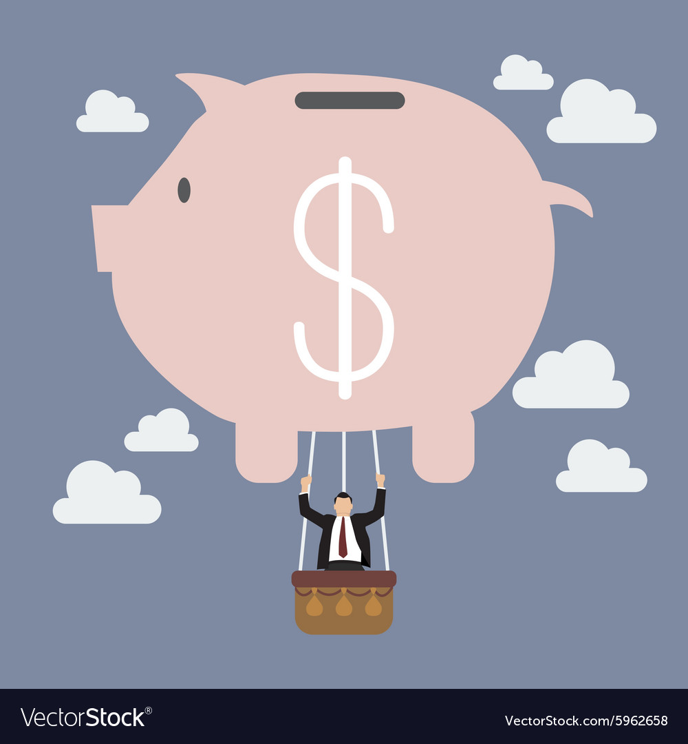 Businessman celebrating in piggy bank balloon