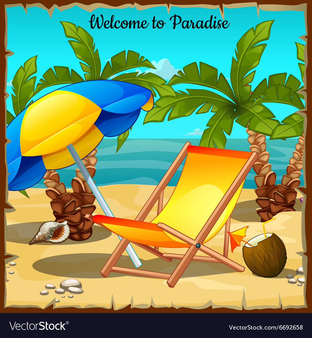 Card on the ocean with palm trees and sun loungers