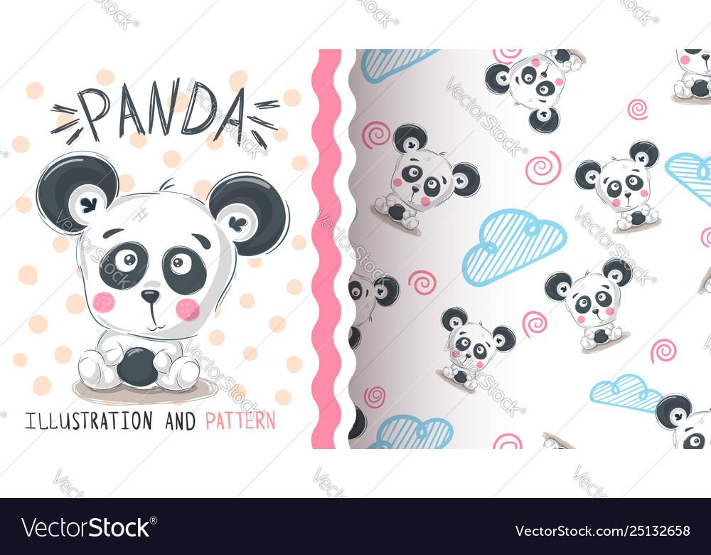 Anxiety Stuffed Animal, Cute Teddy Panda Seamless Pattern Royalty Free Vector
