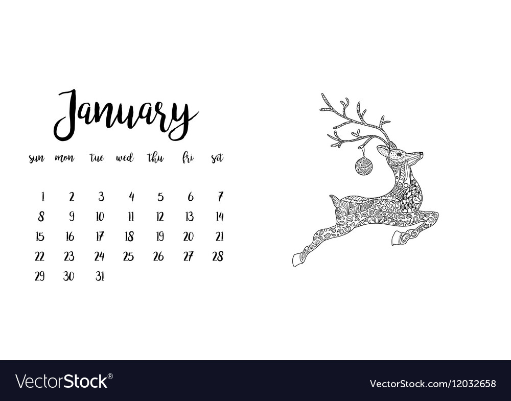 Desk calendar template for month January vector image