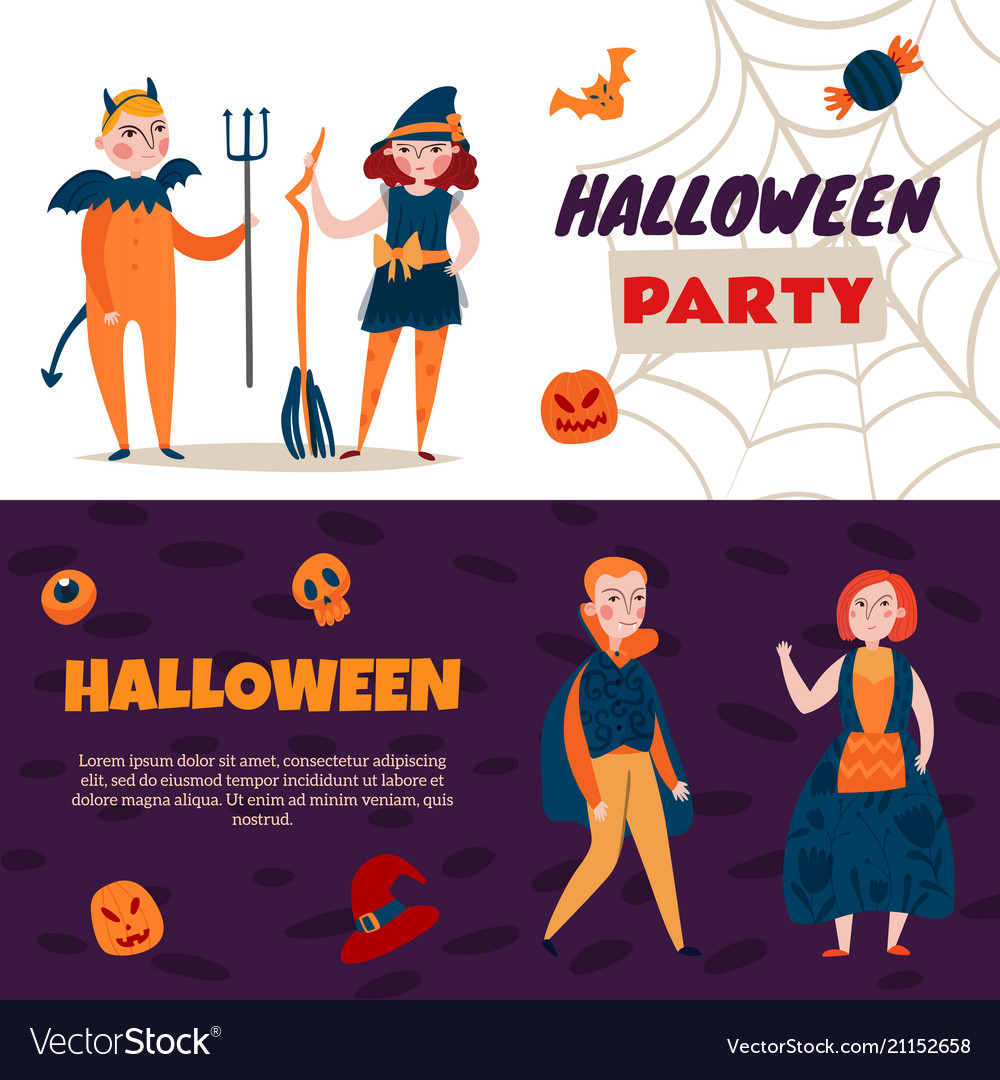 Halloween time kids banners