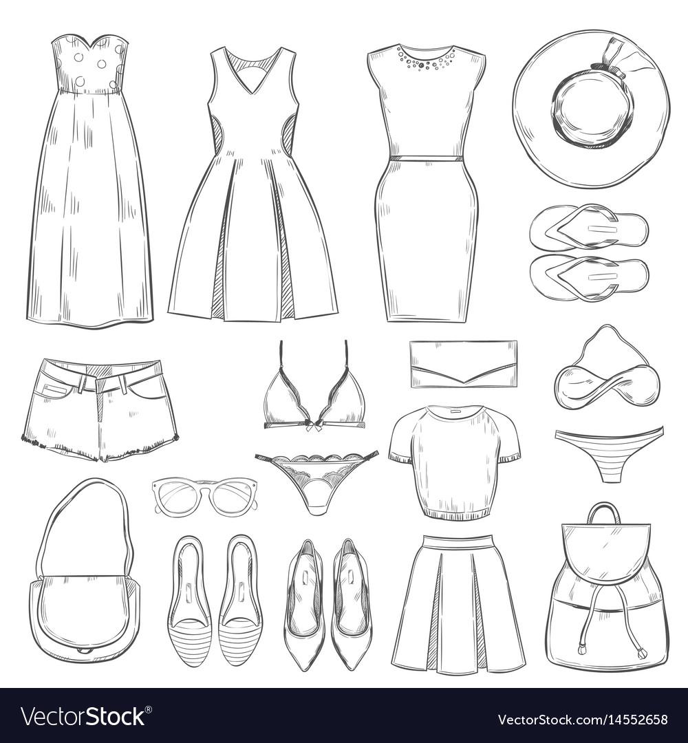 Hand drawn female summer clothes set