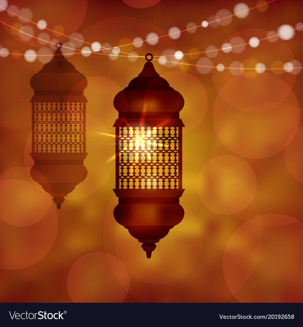 Illuminated arabic lamp lantern with string of