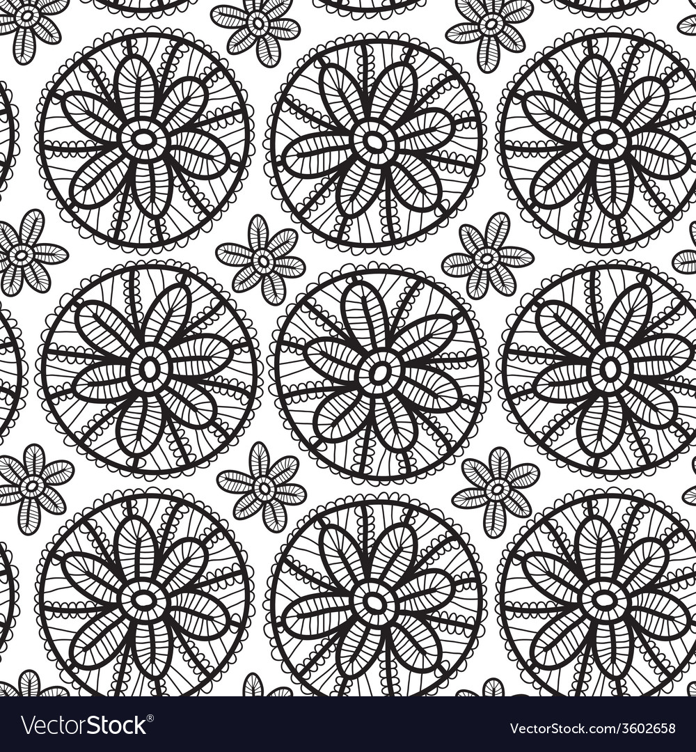 Lace seamless pattern with black flowers on white
