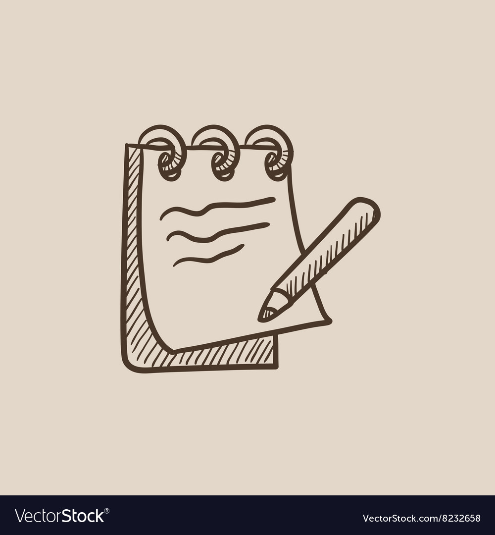 notepad with pencil sketch icon royalty free vector image