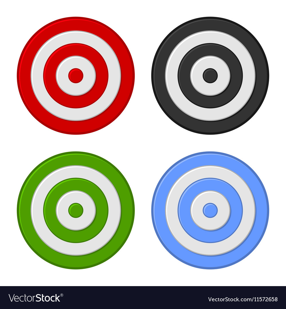 Shooting Target Icon Set Isolated on White