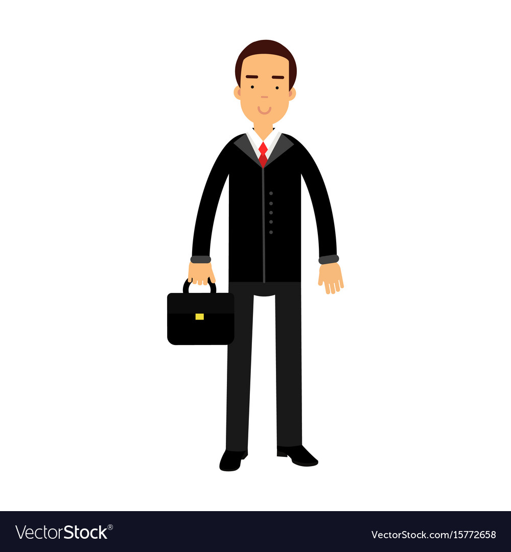 Smiling businessman character in black suit