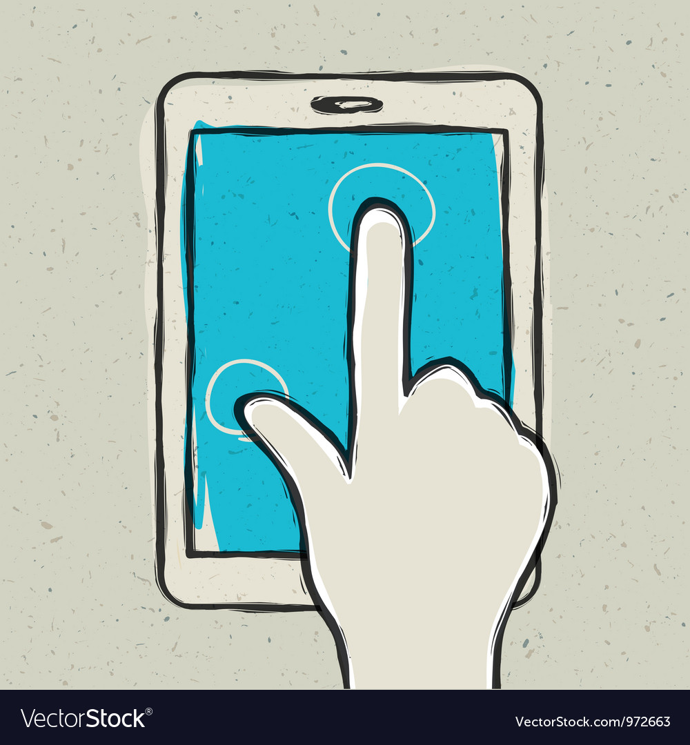 Abstract hand touching tablet
