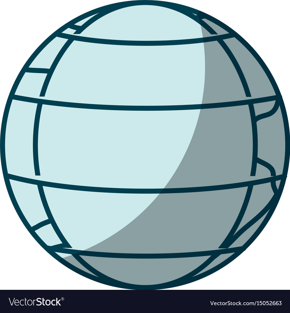 Blue shading silhouette of earth globe with vector image