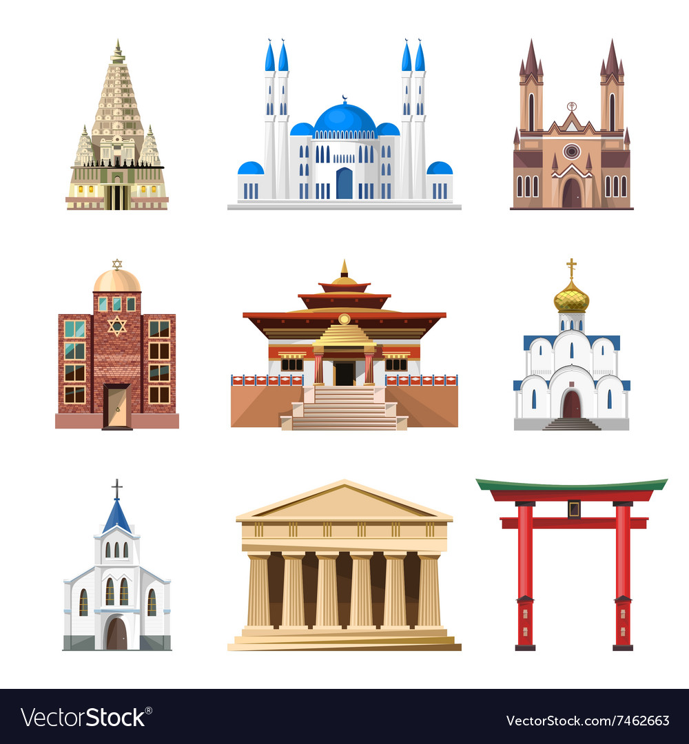 Cathedrals churches and mosques building vector image