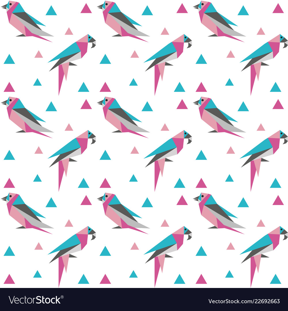 Geometric seamless pattern with origami birds