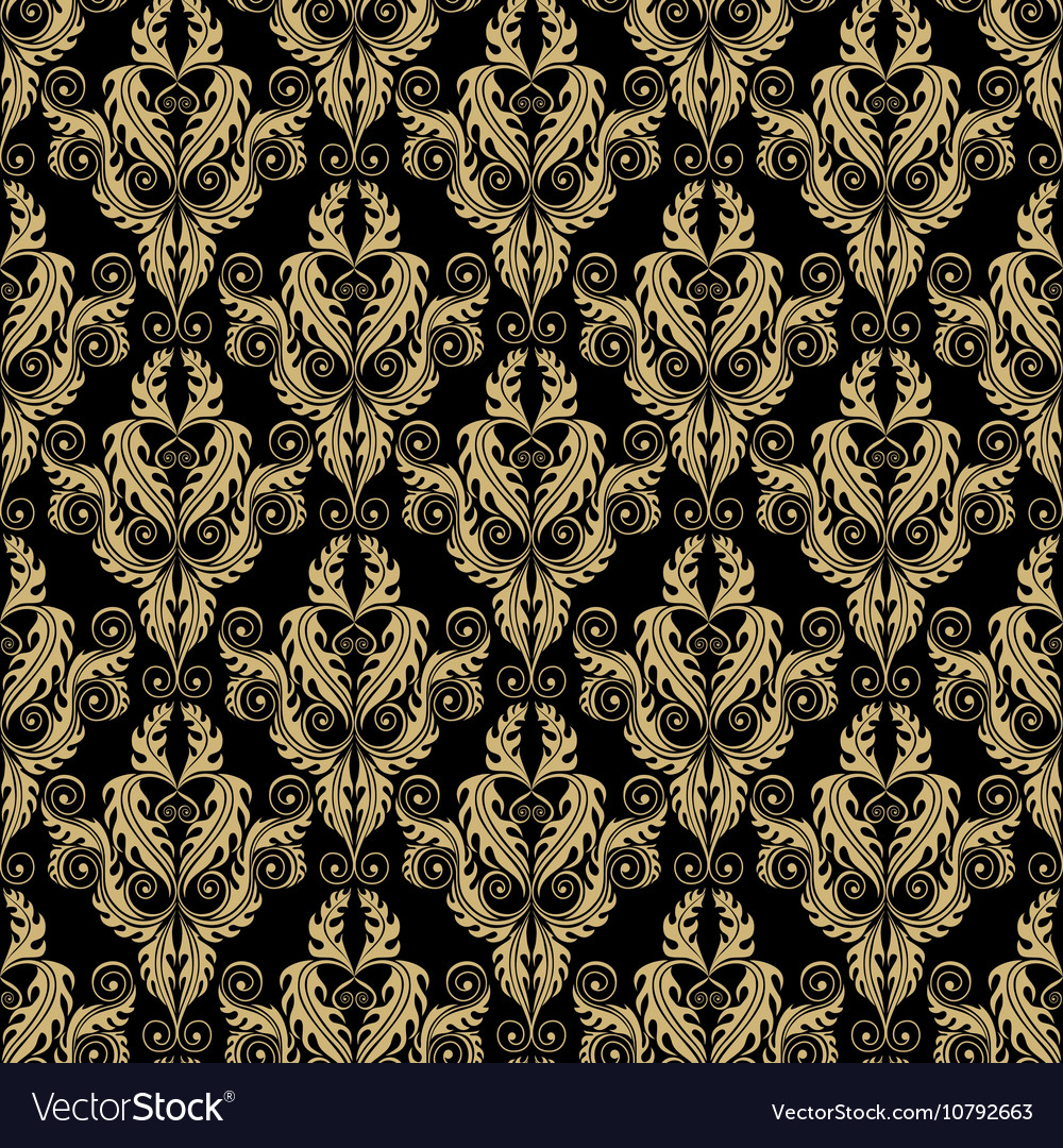 Golden damask seamless pattern