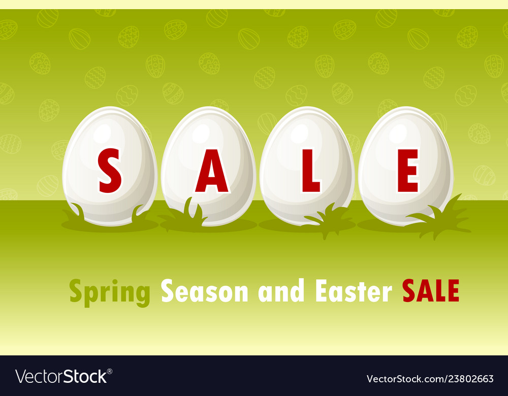 Happy easter eggs on grass spring and