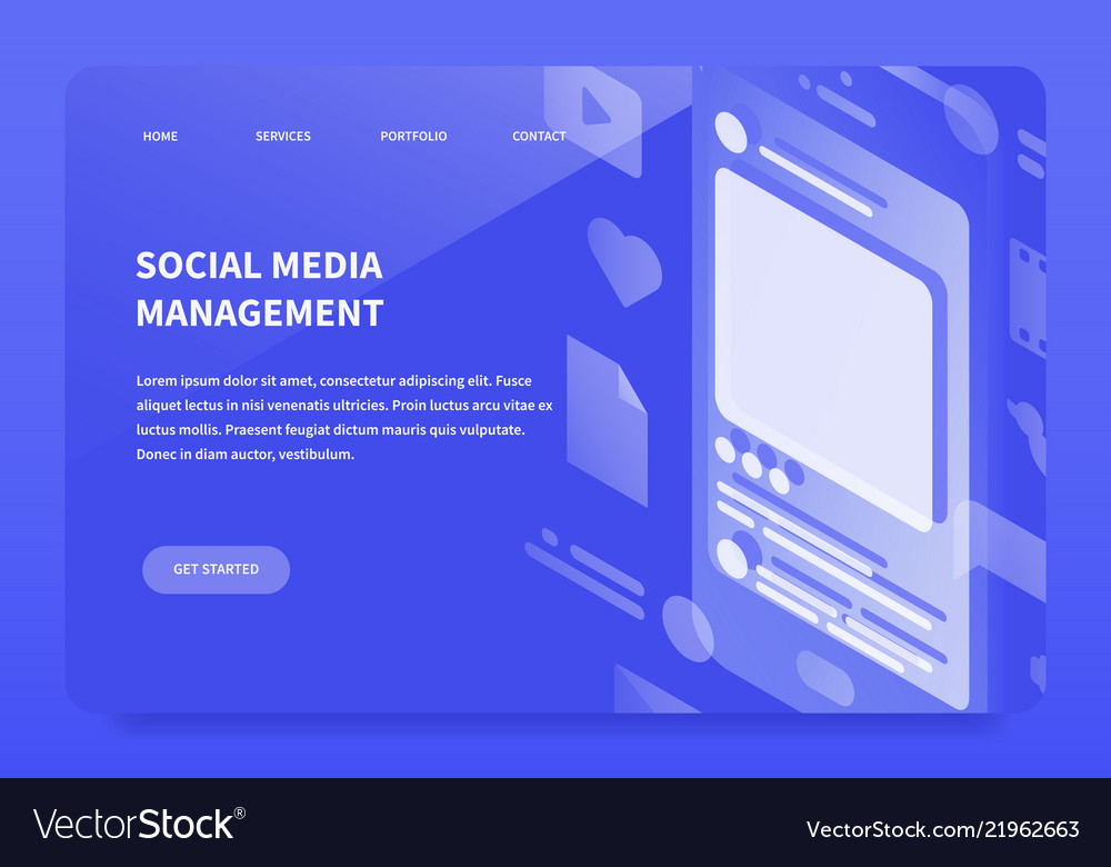 Isometic smm landing page