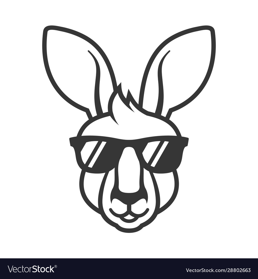 Kangaroo head in sunglasses icon logo on white