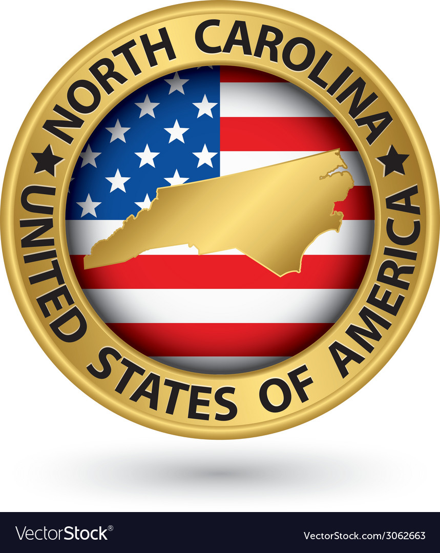 North carolina state gold label with state map