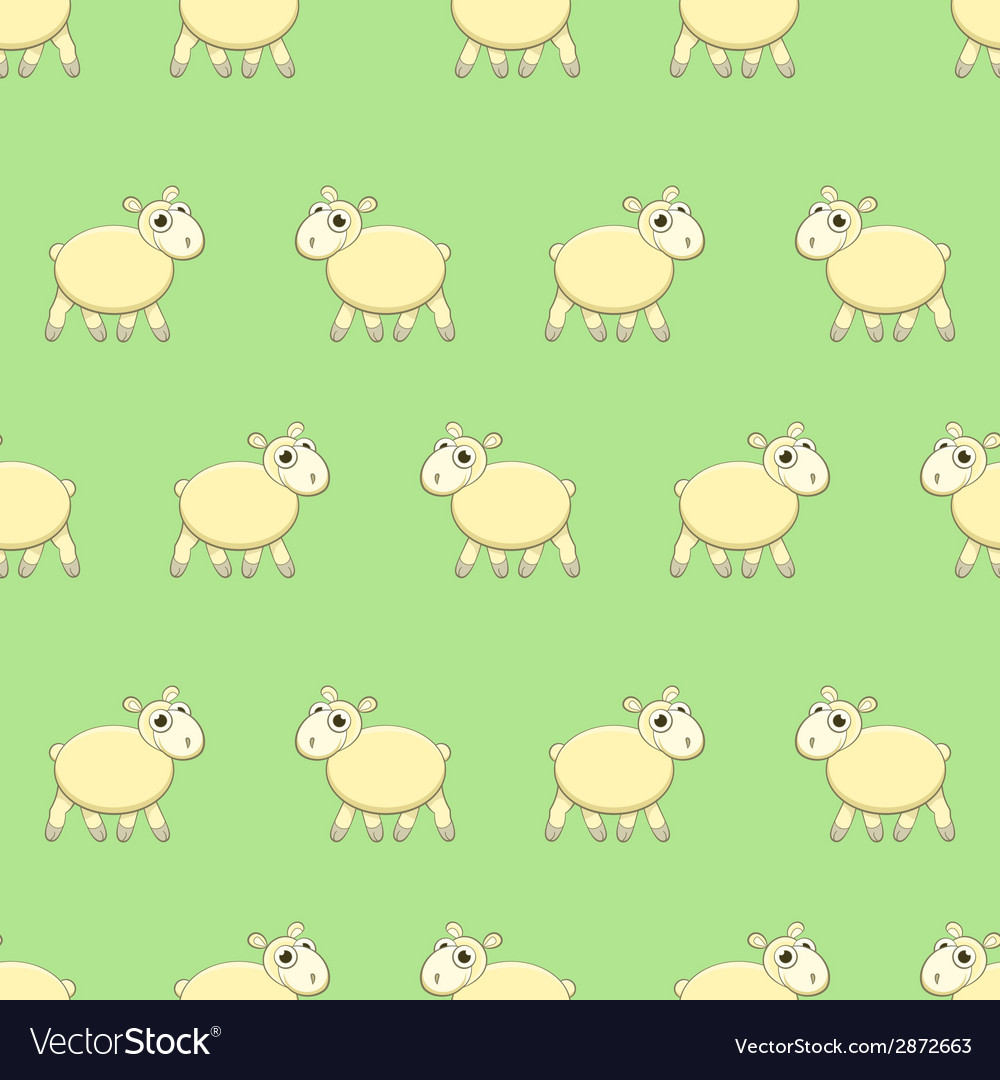 Seamless pattern with cute sheep on grass