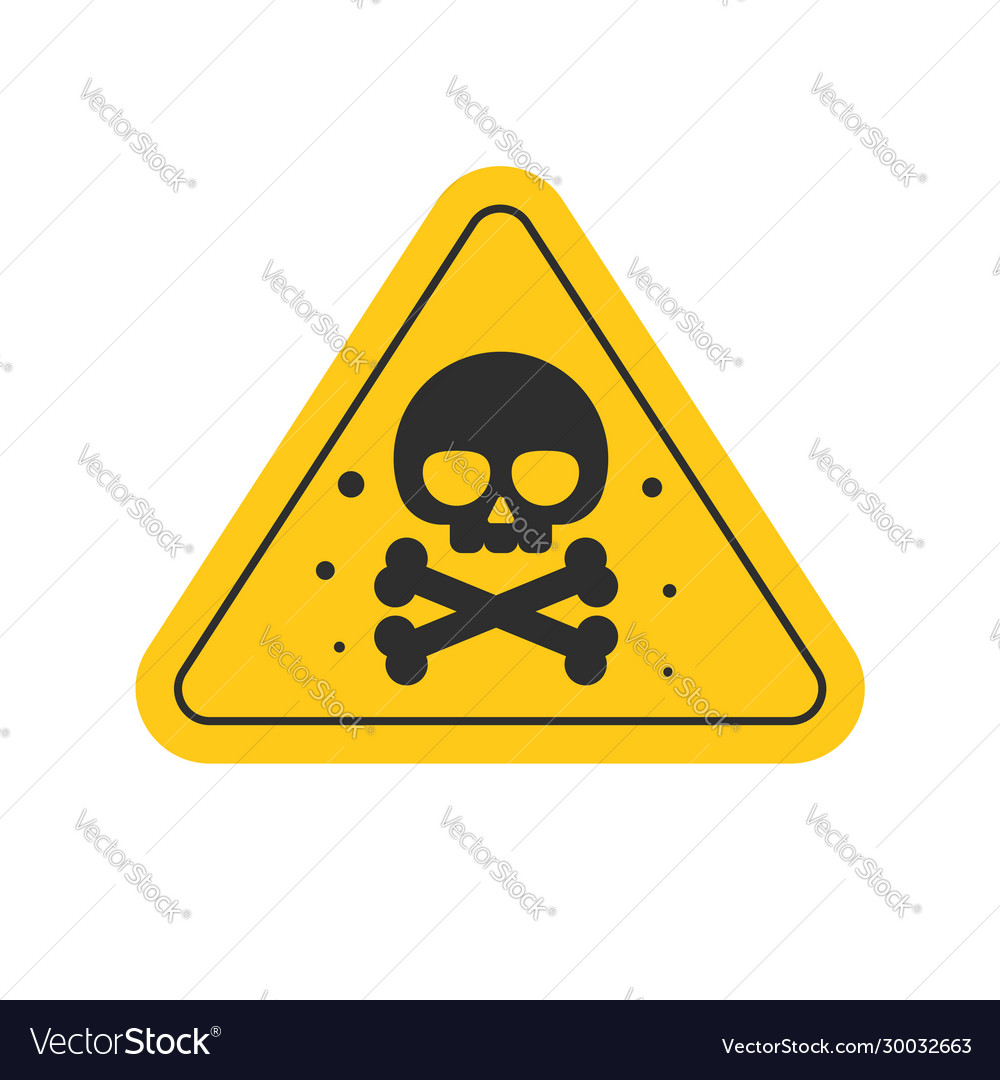 Toxic hazard risk sign or chemical danger triangle