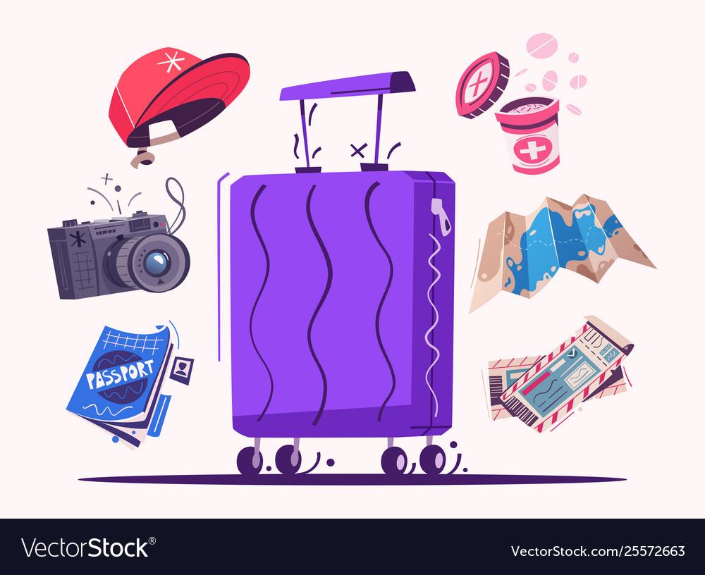 Travel icons cartoon set of