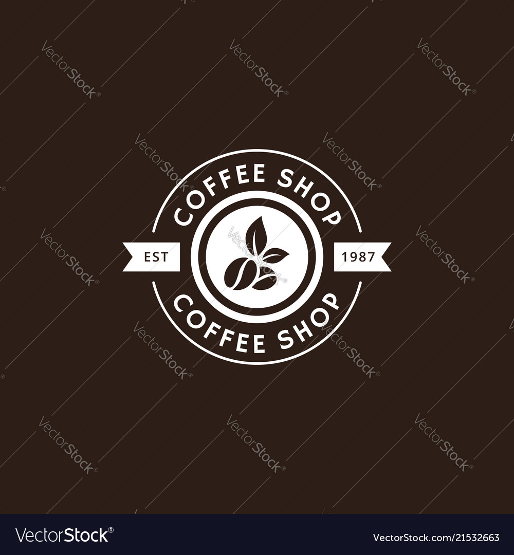 Vintage coffee logo and label in white color