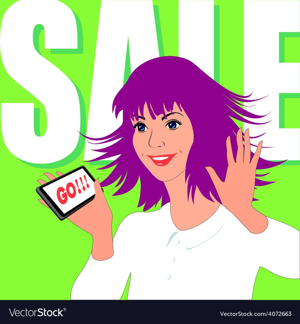 Woman enjoys sale vector image