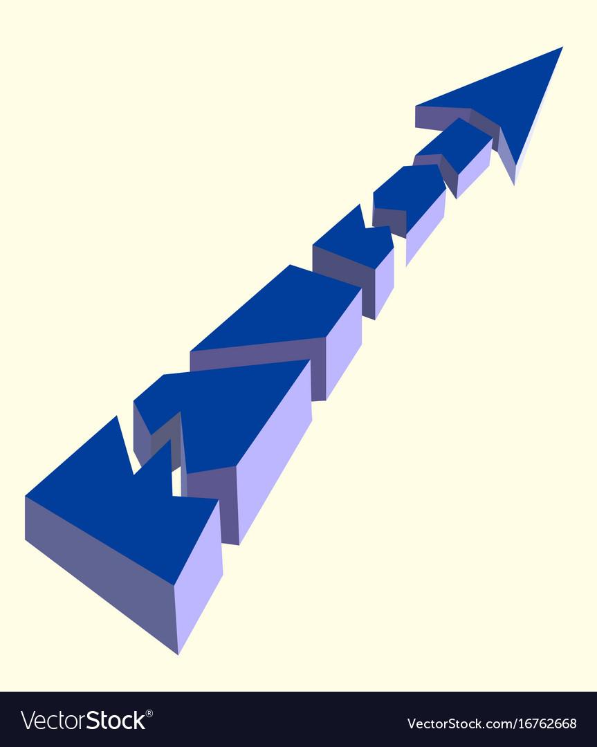 Blue broken arrow pointing upwards on a white