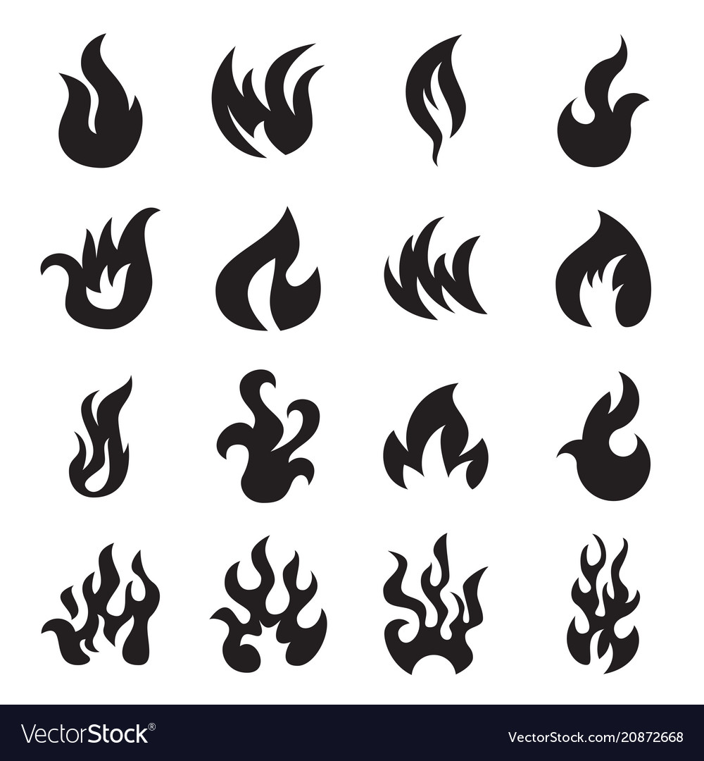 Collection of fire icons isolated vector image