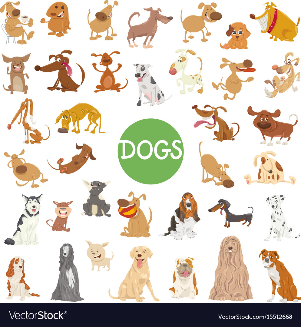 Cute dog characters big set