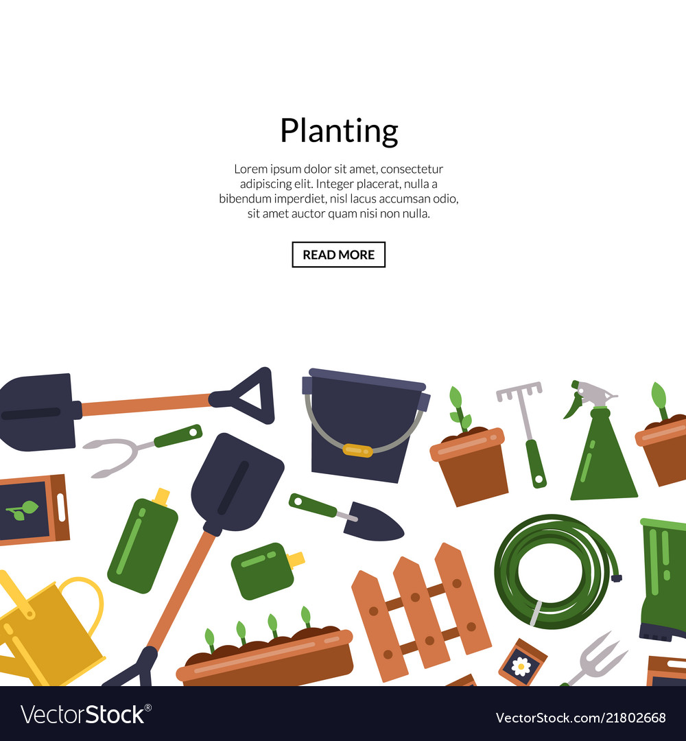 Flat gardening icons background with place