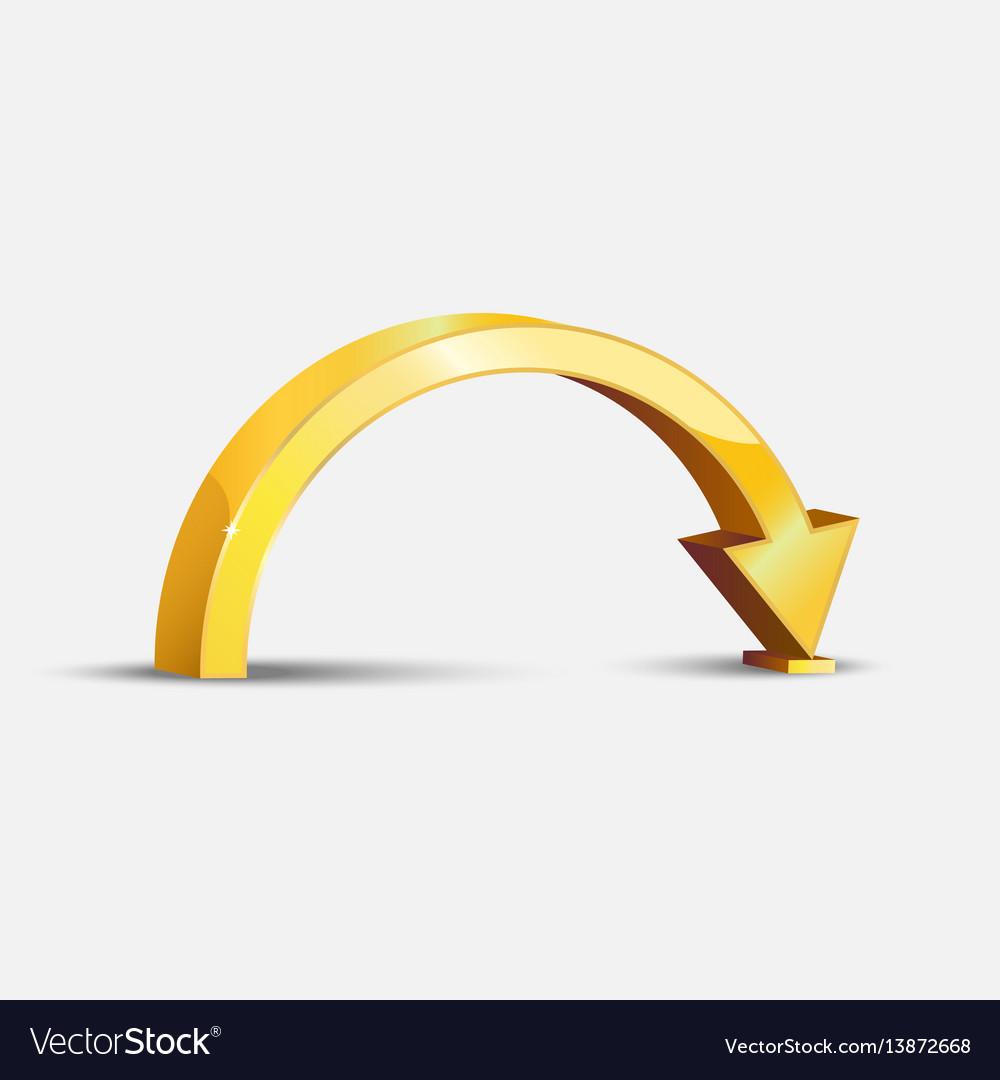 Golden bent arrow