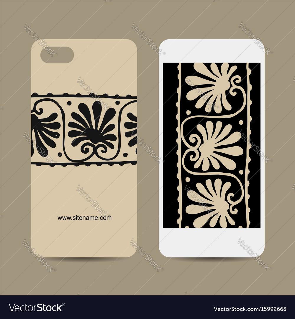 Mobile phone design ethnic handmade ornament vector image