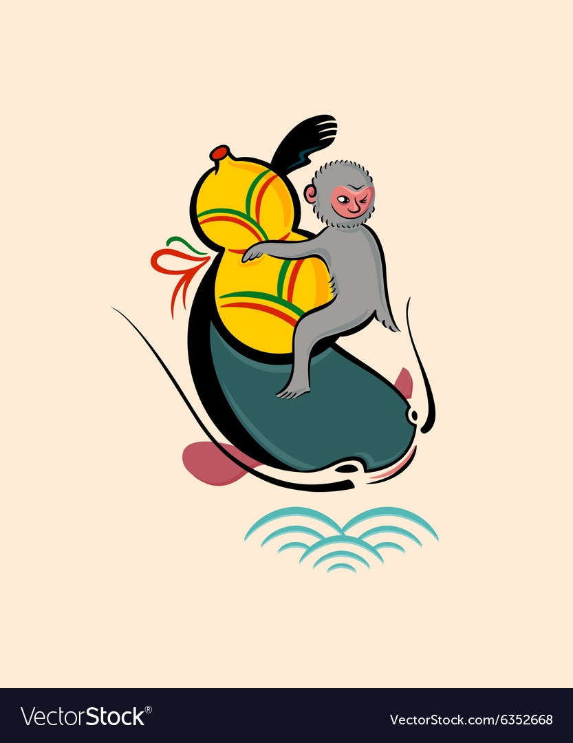 Monkey with a gourd on catfish vector image