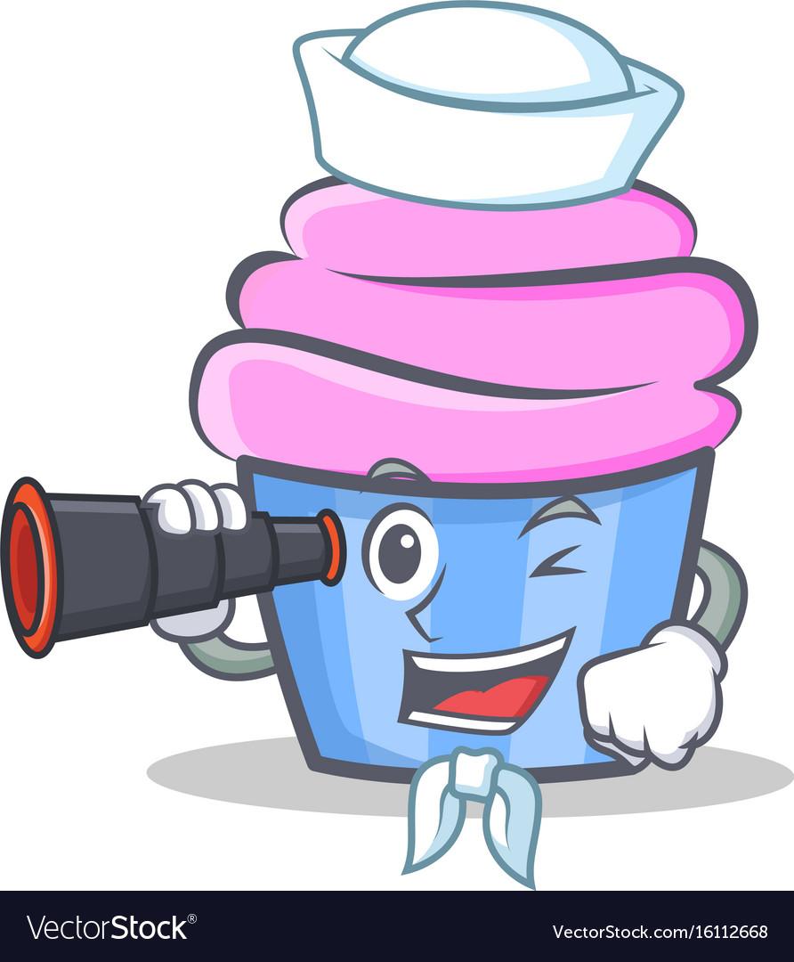 Sailor cupcake character cartoon style with