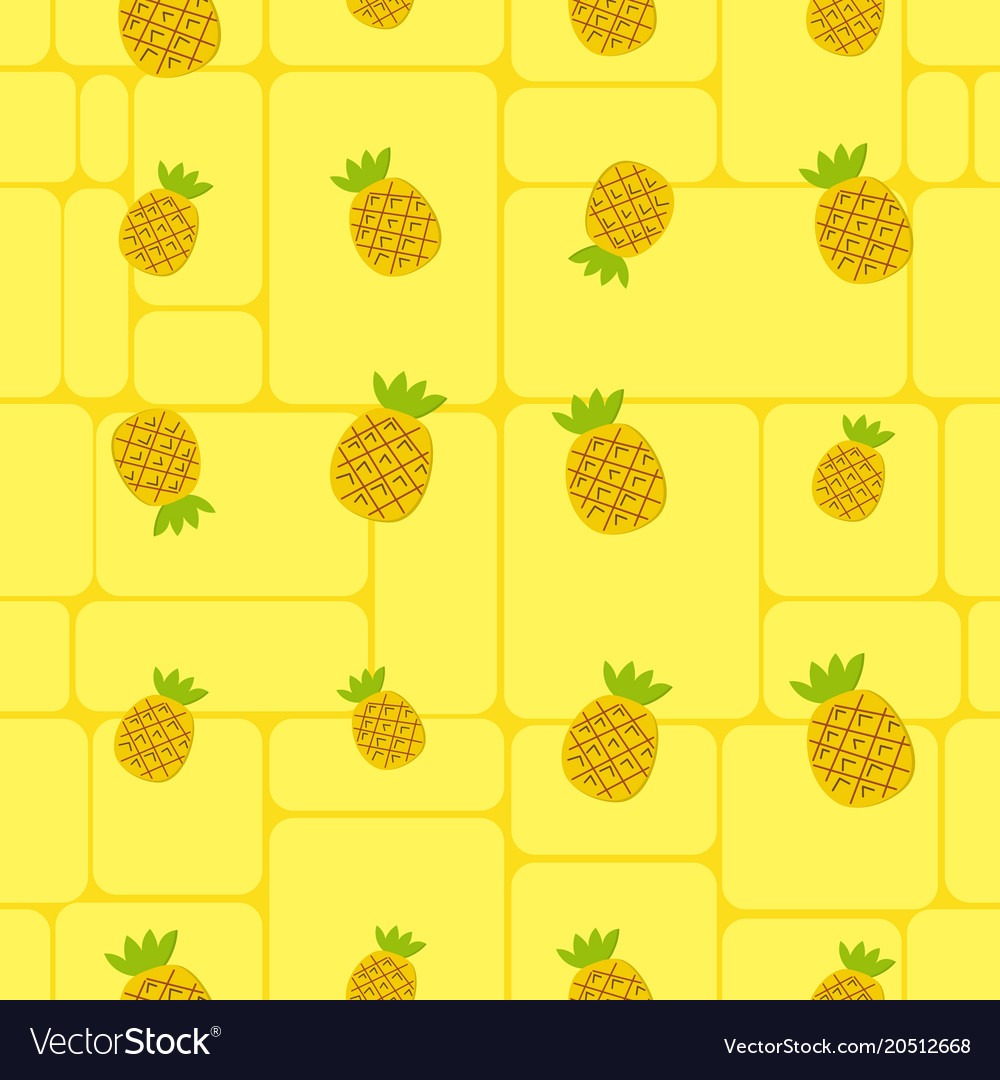 Seamless Background Cute Pineapple On Yellow Vector Image