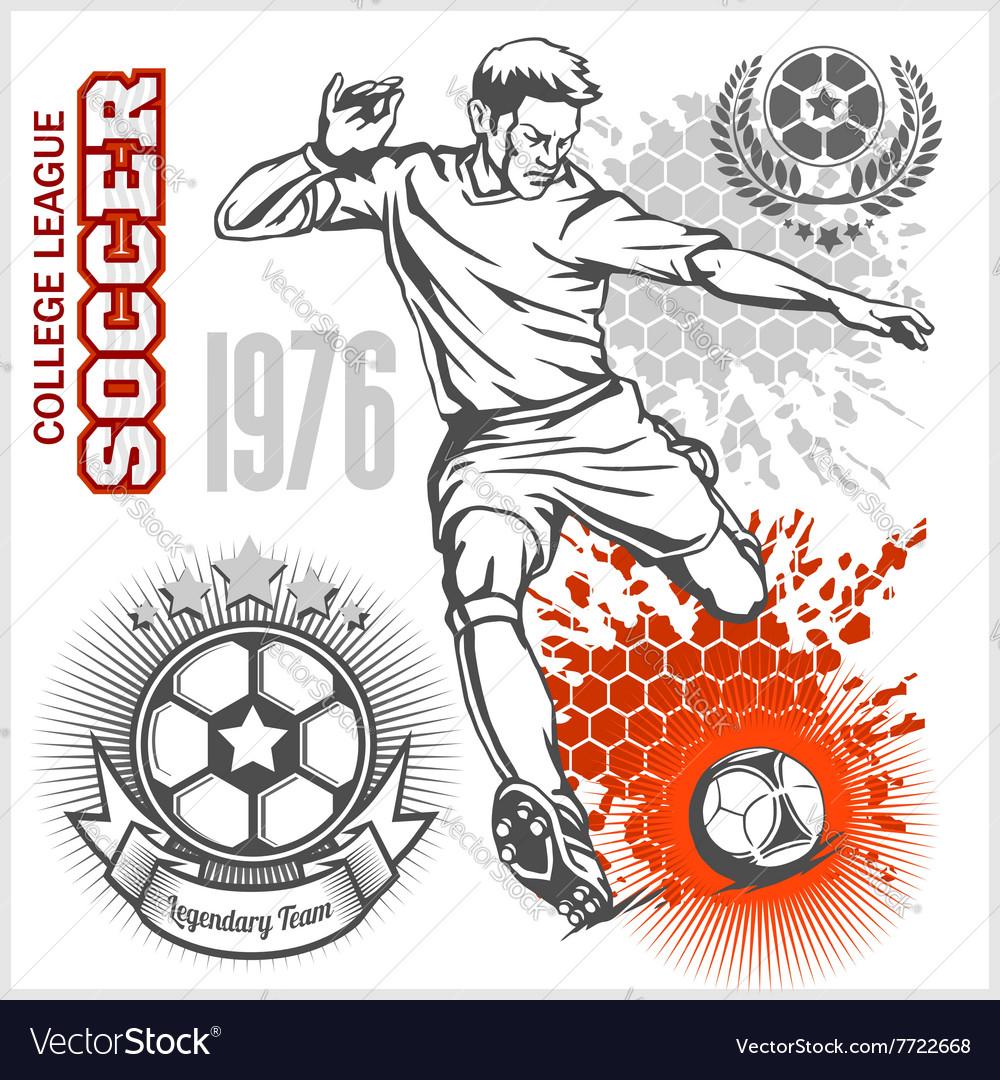 Soccer player kicking ball and football emblems