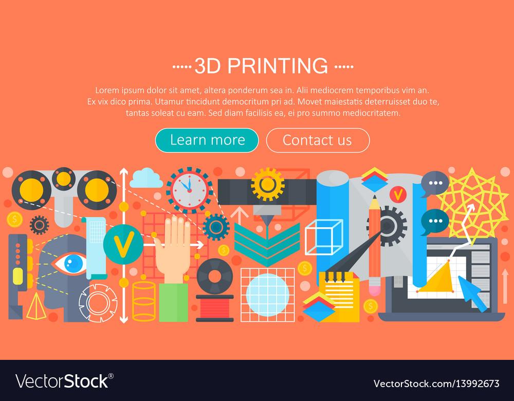 3d printer technology flat concept set 3d