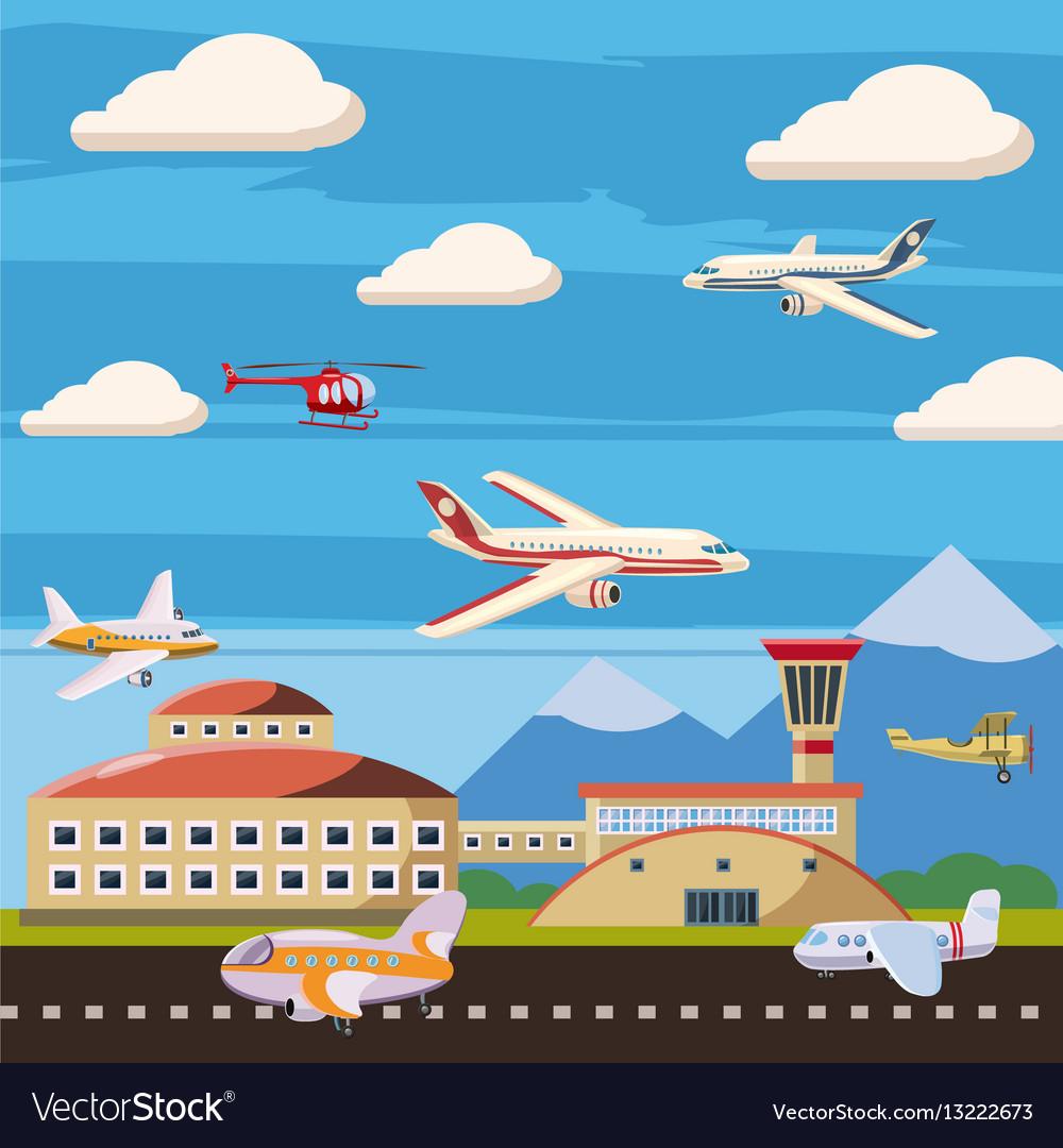 Aviation airport echelon concept cartoon style