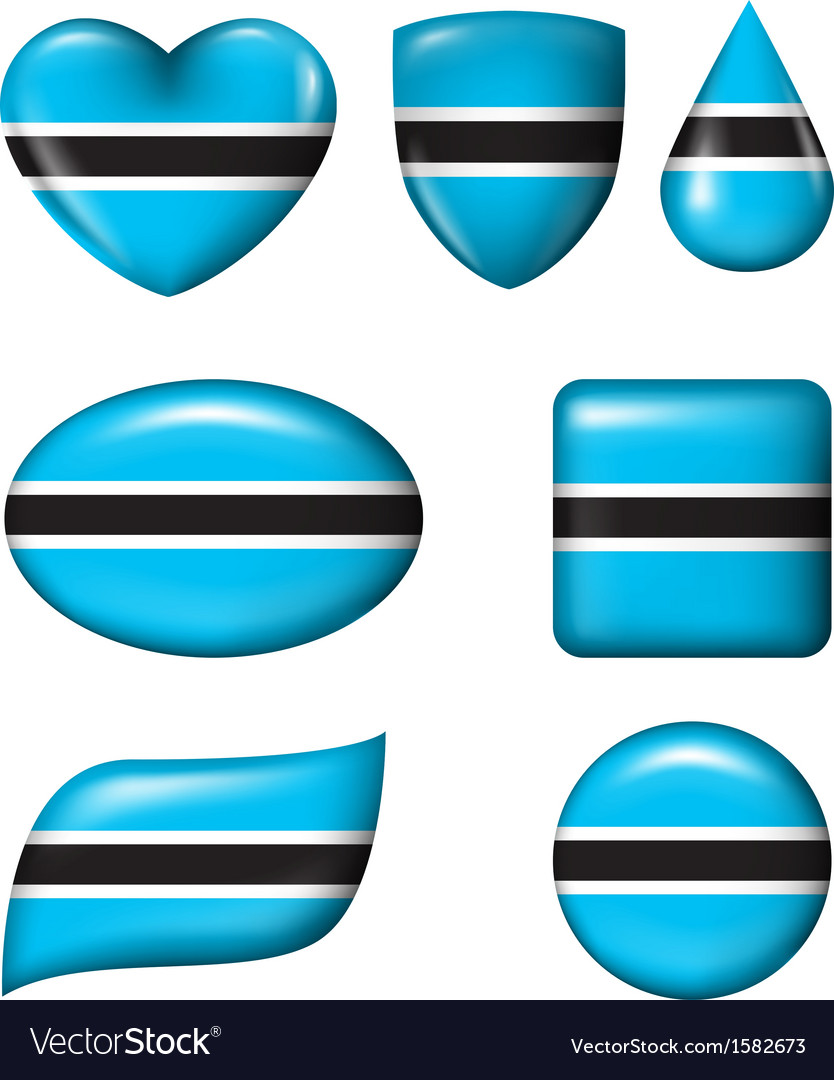 Botswana flag in various shape glossy button