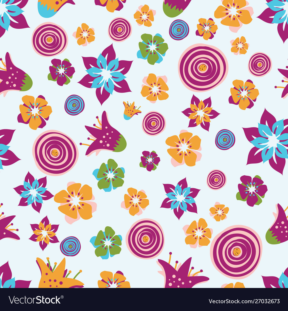 Colorful abstract summer flowers on a light blue