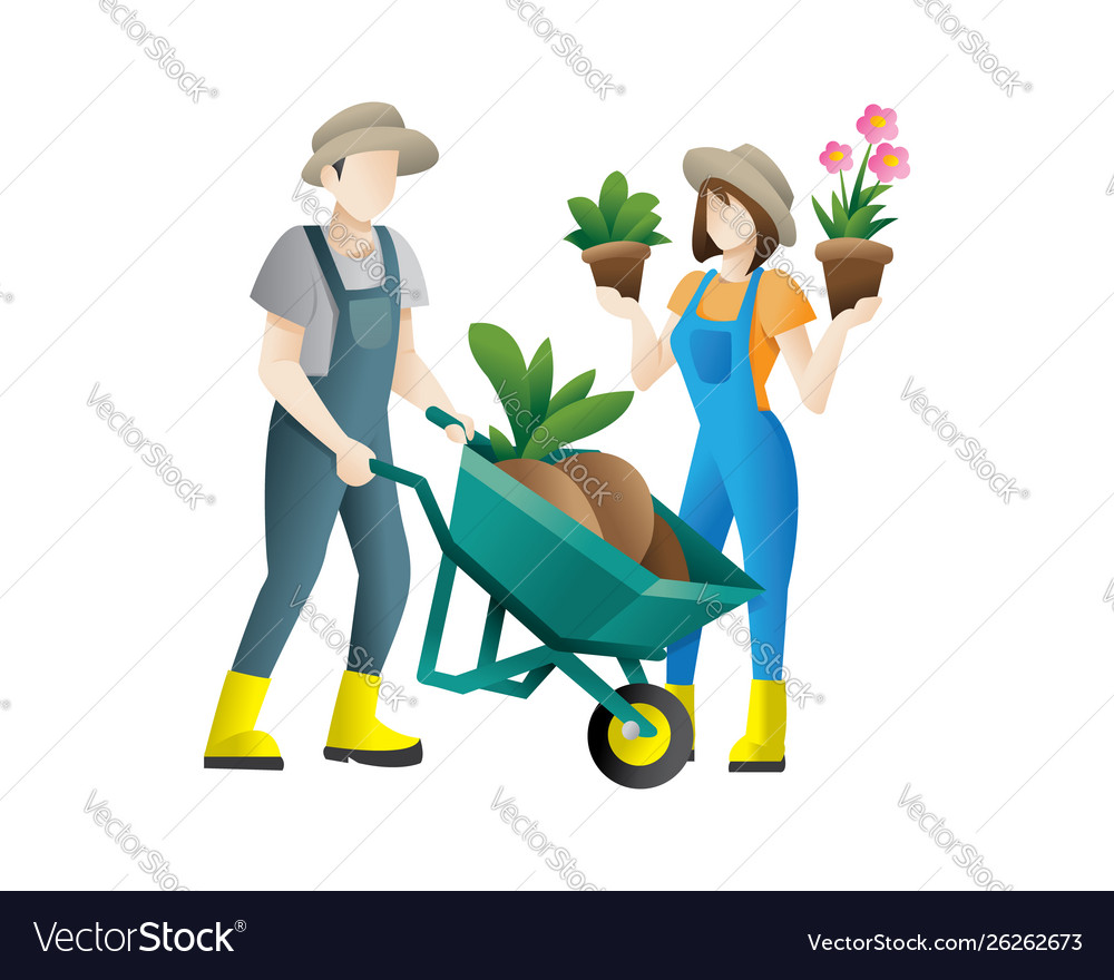 Couple gardeners concept flat