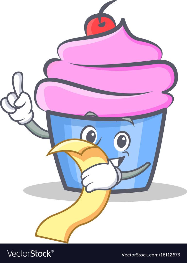 Cupcake character cartoon style with menu
