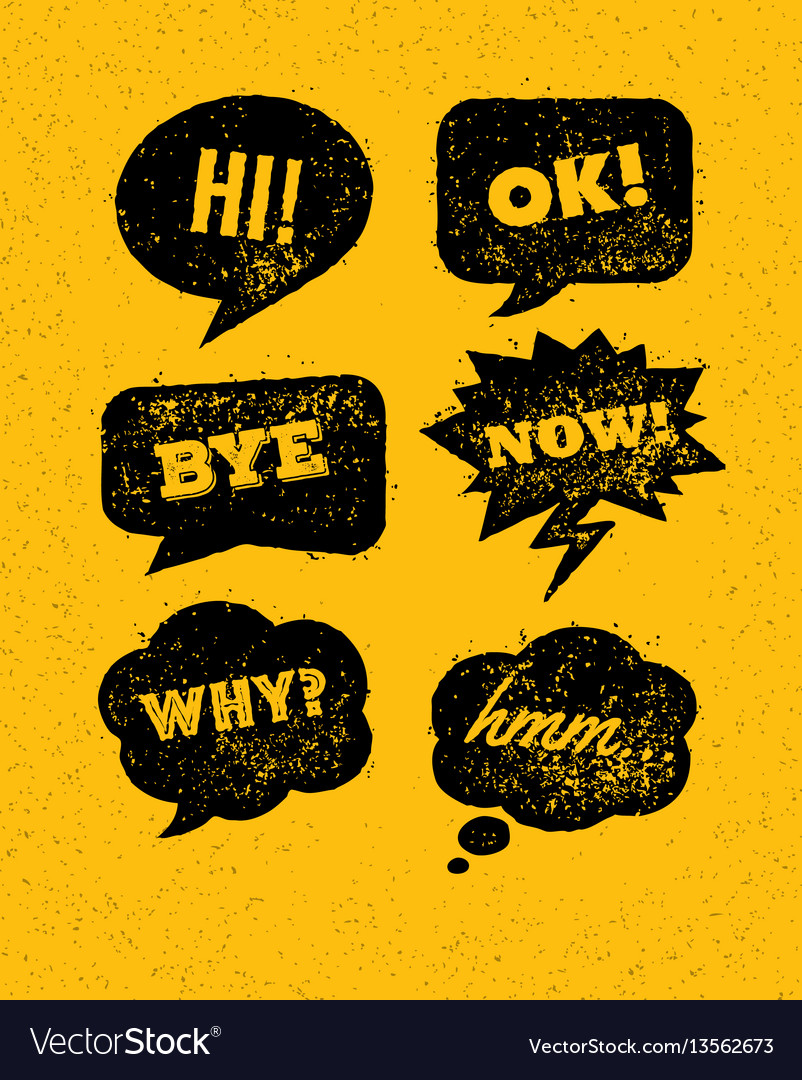 Funny bright rough speech bubbles set on