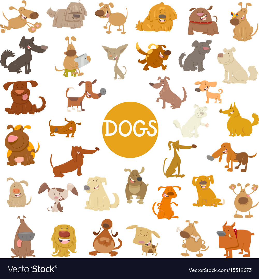 Funny dog characters big set vector image