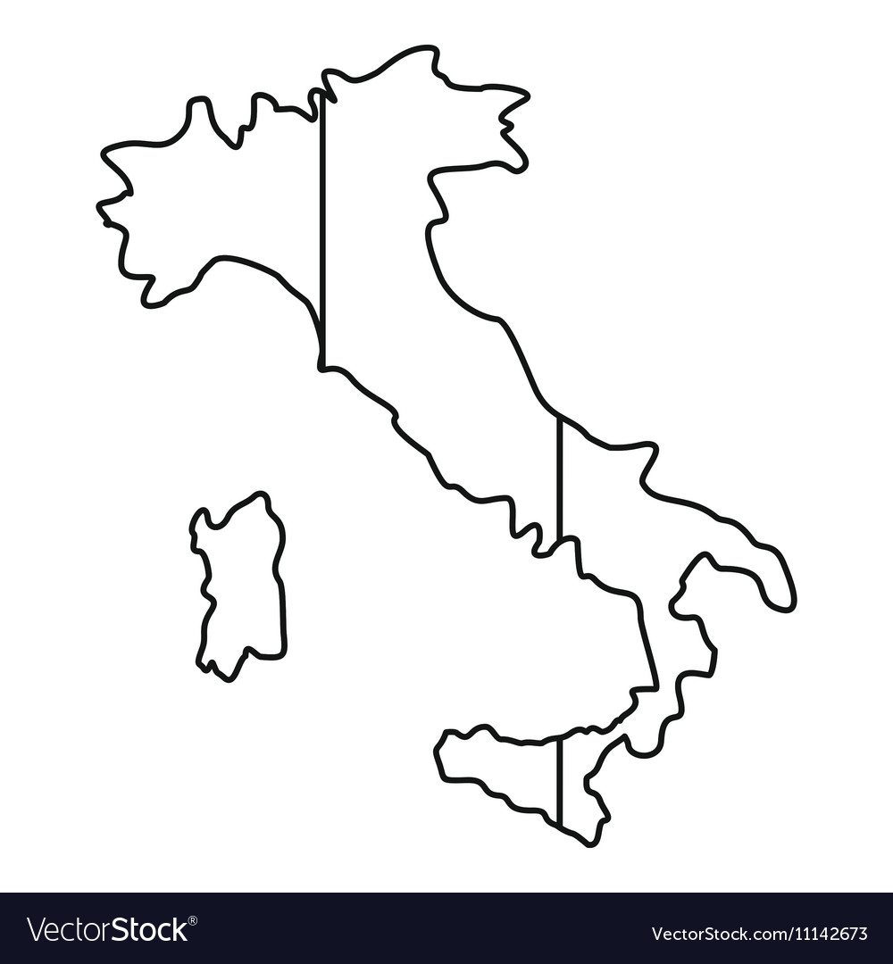 Map Of Italy Outline.Italy Map Icon Outline Style Royalty Free Vector Image